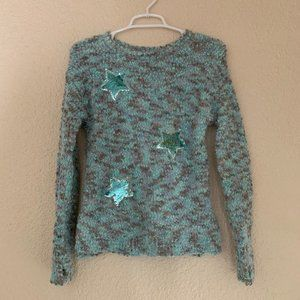 Justice Size 12 Eyelash Knit Sweater Sequin Stars